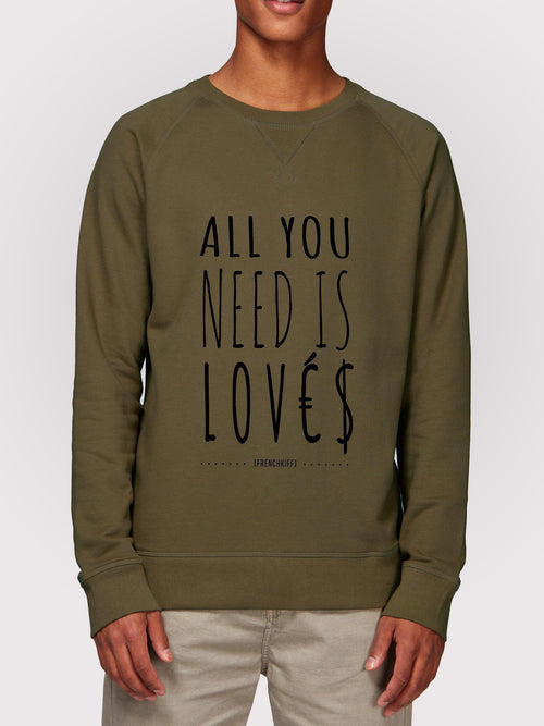 Sweatshirt All you need is lovés Bleu marine by [FRENCHKIFF]