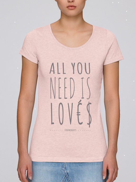 T-shirt Femme All you need is lovés Blanc by [FRENCHKIFF]