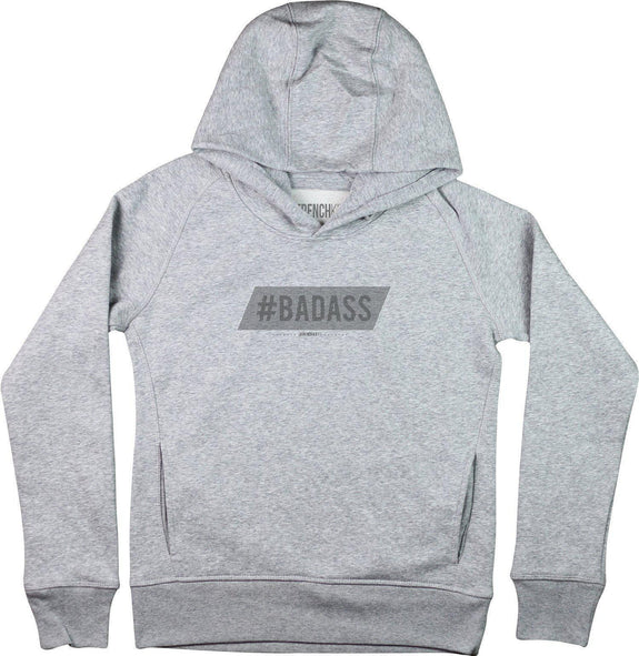 Sweat à capuche Femme Badass Gris sport by [FRENCHKIFF]