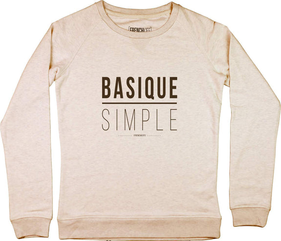 Sweatshirt Femme Basique Simple Beige chiné by [FRENCHKIFF]