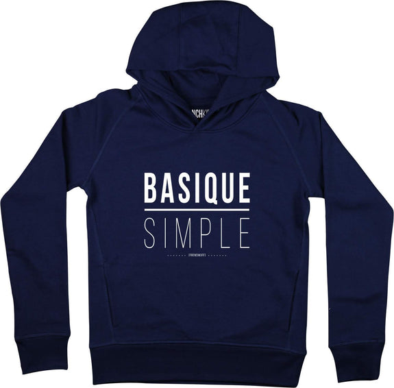 Sweat à capuche Femme Basique Simple Bleu marine by [FRENCHKIFF]