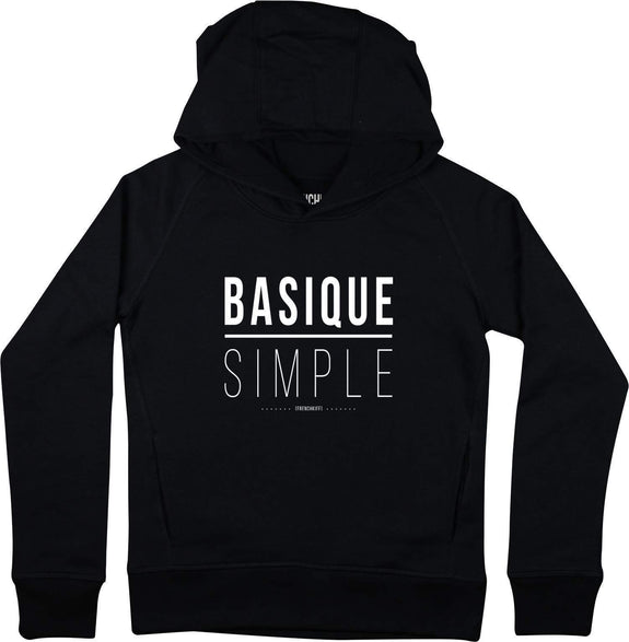 Sweat à capuche Femme Basique Simple Noir by [FRENCHKIFF]
