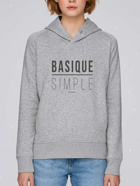 Sweat à capuche Femme Basique Simple Blanc crème by [FRENCHKIFF]