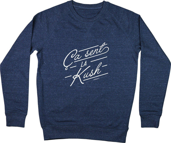 Sweatshirt Ca sent la kush Bleu chiné by [FRENCHKIFF]