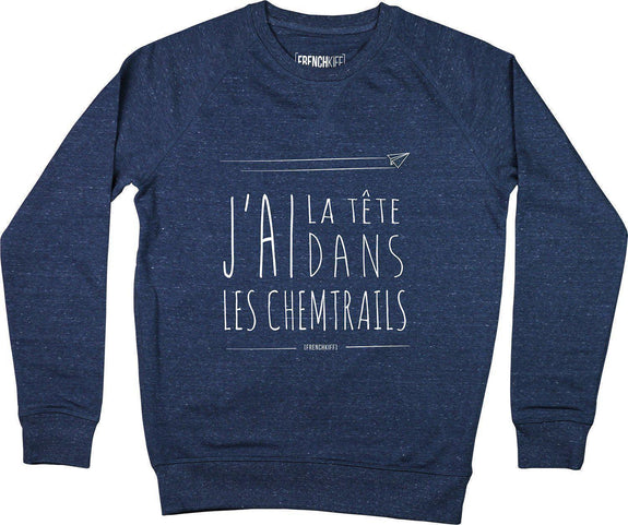 Sweatshirt Chemtrails Bleu chiné by [FRENCHKIFF]