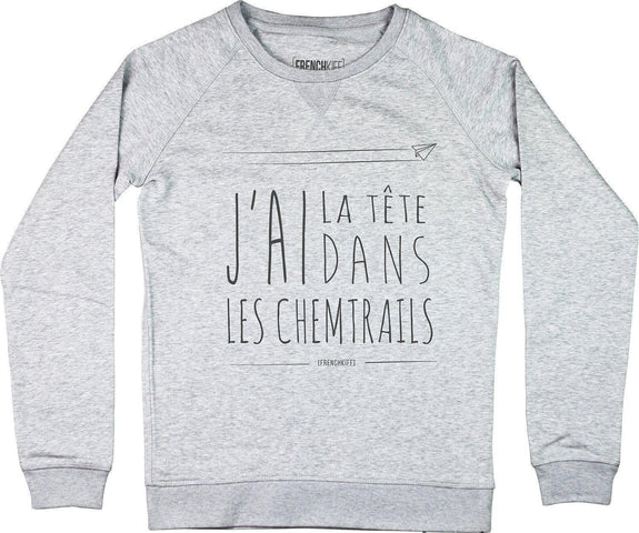 Sweatshirt Femme Chemtrails Gris sport by [FRENCHKIFF]