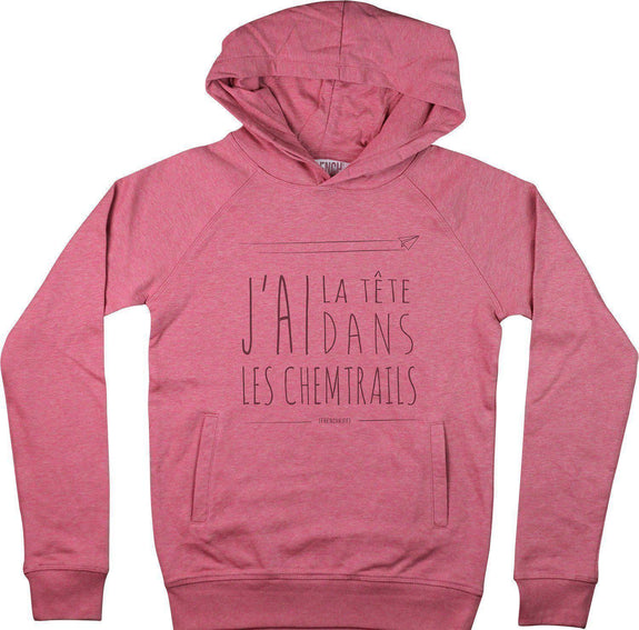 Sweat à capuche Femme Chemtrails Rose by [FRENCHKIFF]