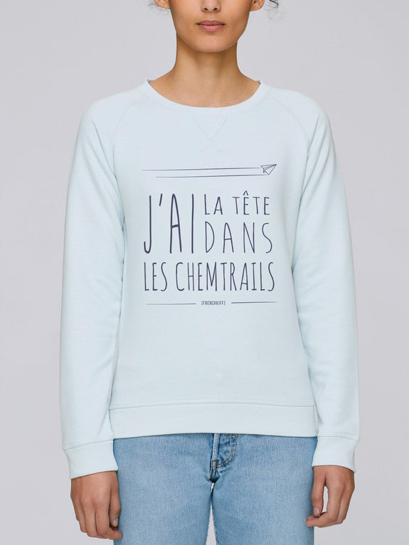 Sweatshirt Femme Chemtrails Beige chiné by [FRENCHKIFF]