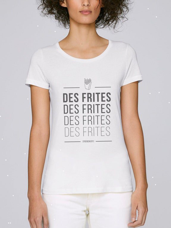 T-shirt Femme Des frites Blanc by [FRENCHKIFF]