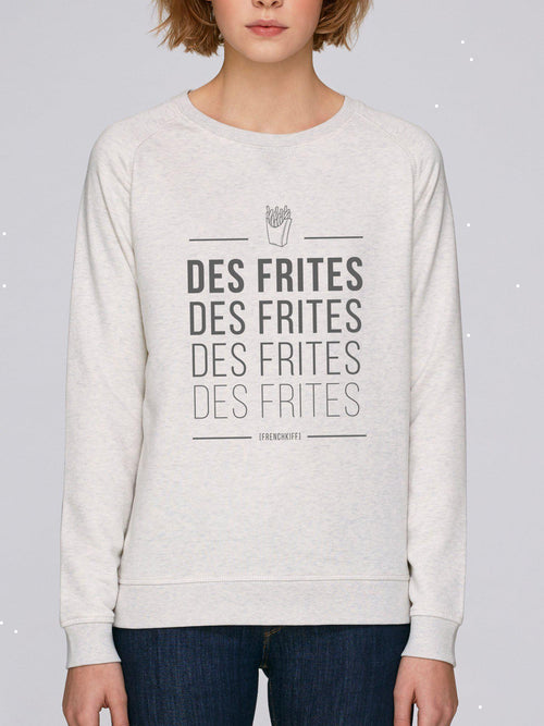 Sweatshirt Femme Des frites Beige chiné by [FRENCHKIFF]
