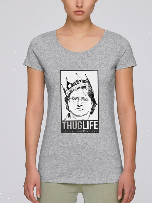 T-shirt Femme King Gabe Newell Blanc by [FRENCHKIFF]