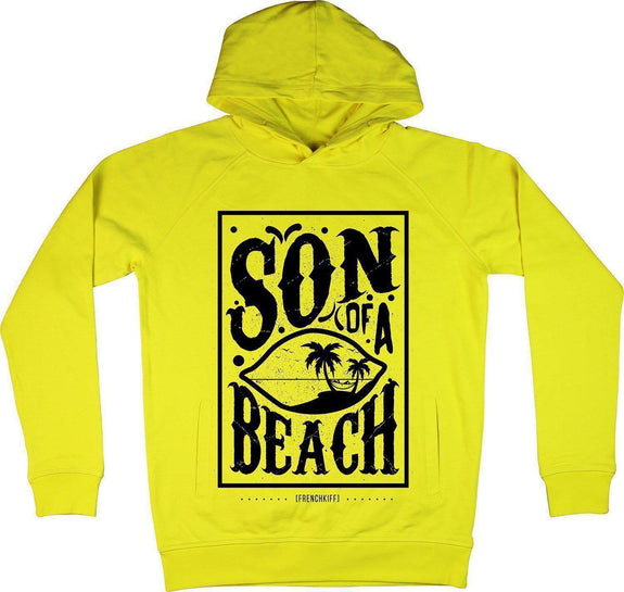 Sweat à capuche Son of a beach Jaune by [FRENCHKIFF]