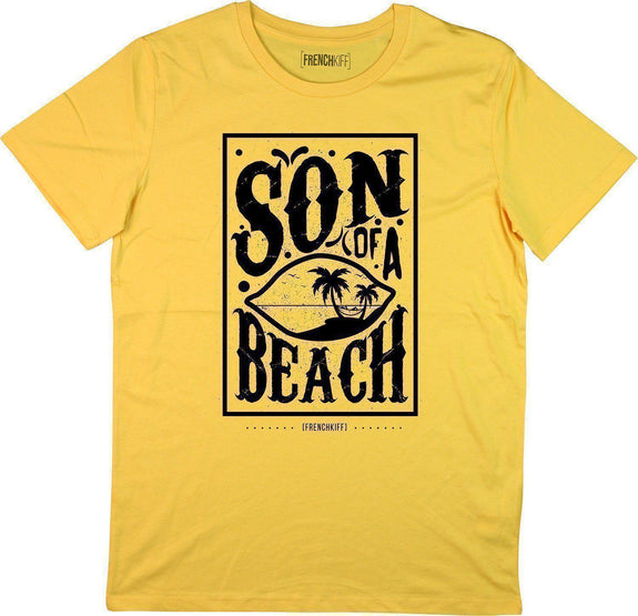 T-shirt Son of a beach Jaune moutarde by [FRENCHKIFF]