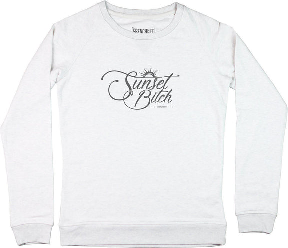 Sweatshirt Femme Sunset Bitch Blanc crème by [FRENCHKIFF]