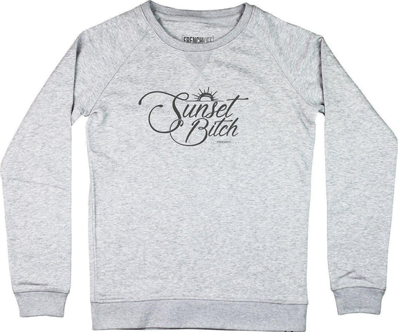 Sweatshirt Femme Sunset Bitch Gris sport by [FRENCHKIFF]