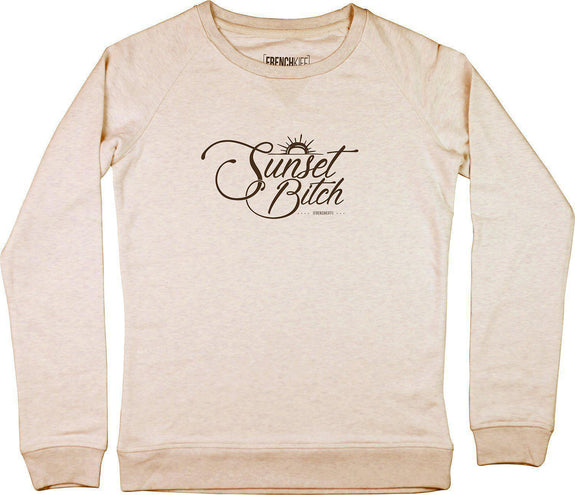 Sweatshirt Femme Sunset Bitch Beige chiné by [FRENCHKIFF]