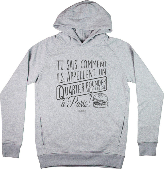 Sweat à capuche Tu sais comment ils appellent Gris sport by [FRENCHKIFF]