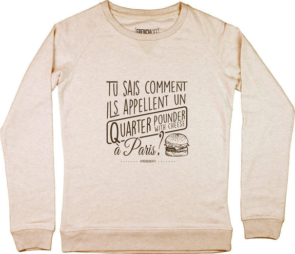 Sweatshirt Femme Tu sais comment ils appellent Beige chiné by [FRENCHKIFF]