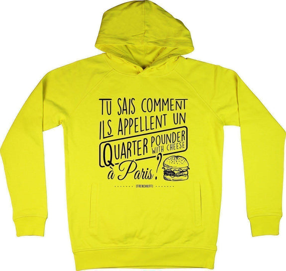 Sweat à capuche Tu sais comment ils appellent Jaune by [FRENCHKIFF]
