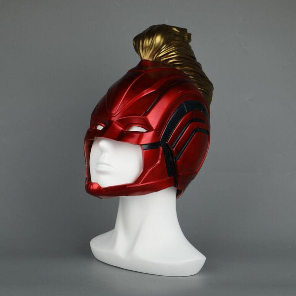 2019 Captain Marvel Movie Mask Full Head Costume Helmet in Red Gold Color-Marvel Comics Cosplay-WickyDeez