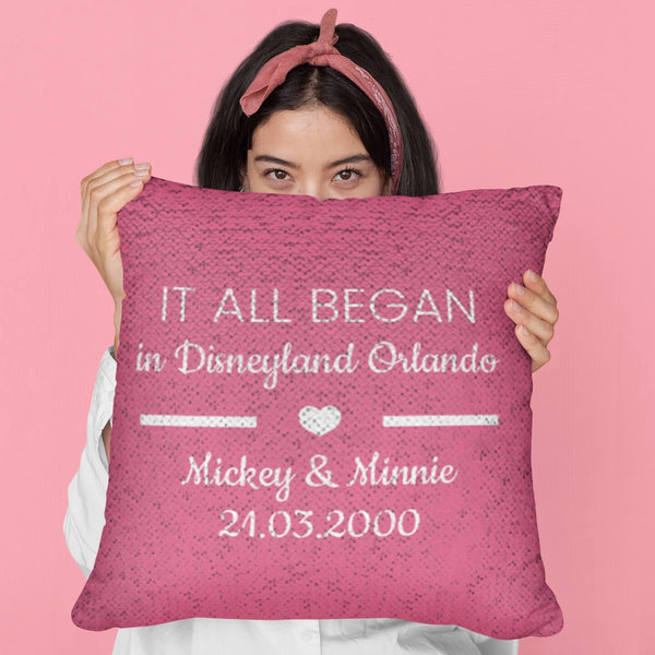 IT ALL BEGAN Valentine Gift Sequin Pillow | Customize Your Own Text | Perfect Gift for Couples - WickyDeez