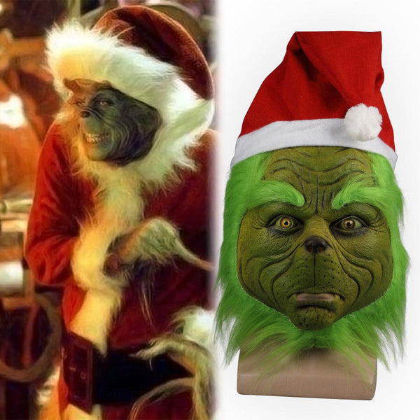 2018 Grinch Stole Christmas Mask Xmas Hat Long Hair Party Prop Mask-Grinch-WickyDeez