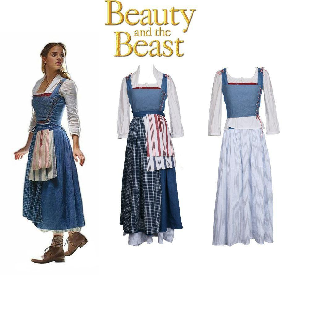 Disney Beauty and the Beast Belle Blue Princess Dress Maid Cosplay Costume
