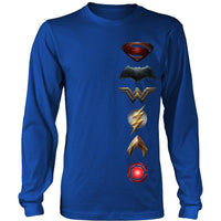 2017 Justice League Movie District Long Sleeve 100% Cotton Symbol Logo Shirt-DC Comics Cosplay-WickyDeez