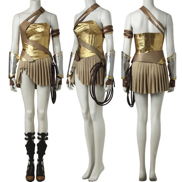 Wonder Woman Gold Armor Battle Gear Cosplay Costume + Sandal Boots w/ Lasso-DC Comics Cosplay-WickyDeez
