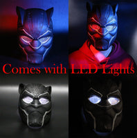 LED 2018 Black Panther Glowing Lights Mask T'Challa Cosplay Helmet Replica Prop Alt Version-Marvel Comics Cosplay-WickyDeez