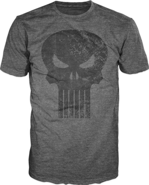 Punisher Black Skull Logo Men's Gray T-Shirt Tee Shirt-MXED-WickyDeez