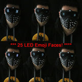 25 Emoji LED Light Faces Watch Dogs 2 Mask Marcus Wrench Rivet Cosplay Mask-Computer Game Cosplay-WickyDeez