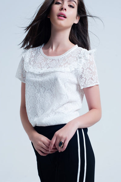 White Embroidered Blouse Shirt Top-Women - Apparel - Shirts - Blouses-WickyDeez