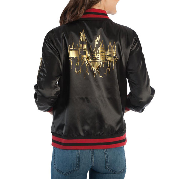 Girls Harry Potter Hogwarts Bomber Jacket - Stretch for Comfort-Harry Potter-WickyDeez