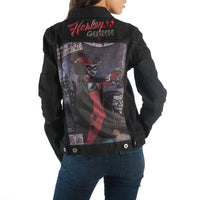 One of a Kind Harley Quinn Denim Black Jacket with 3 Patches-DC Comics Cosplay-WickyDeez