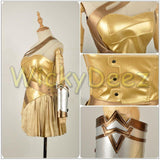 Wonder Woman Golden Amazon Battle Cosplay Costume+Sandals Shoes Custom Made-DC Comics Cosplay-WickyDeez