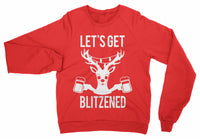 LET'S GET BLITZENED Christmas Sweater BEER Version for Men & Women-Women's Tops-WickyDeez