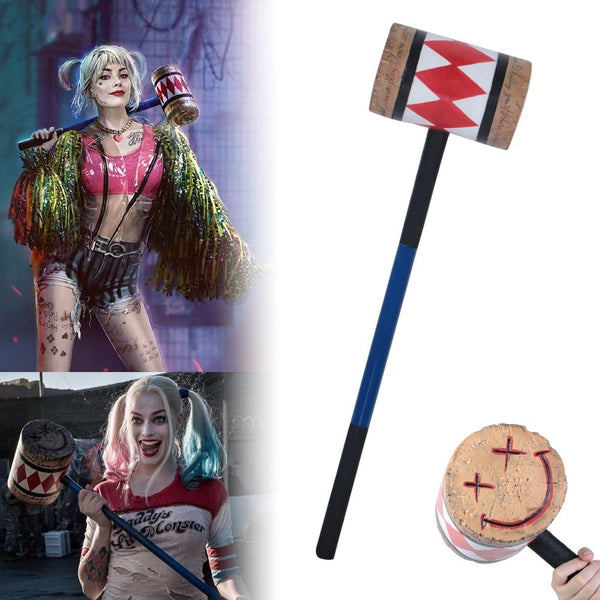 Harley Quinn Birds of Prey Mallet Hammer Smiley Face Suicide Squad Bat Cosplay Costume Prop
