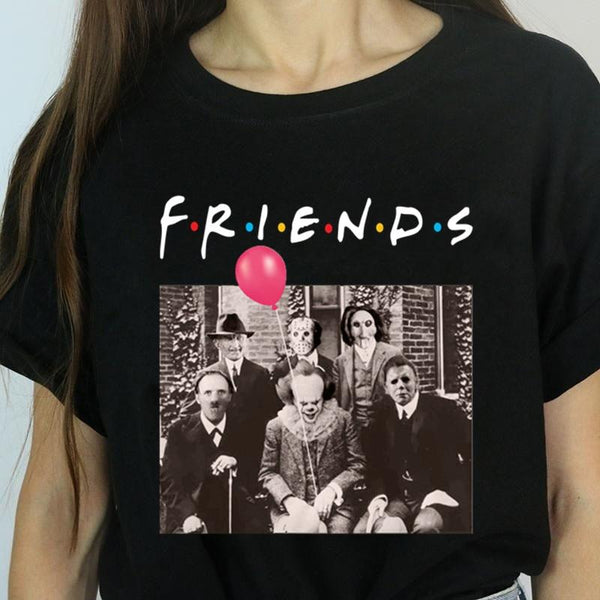 Halloween Horror Friends Tee Top | Pennywise Michael Myers Jason Voorhees Freddy Krueger Saw