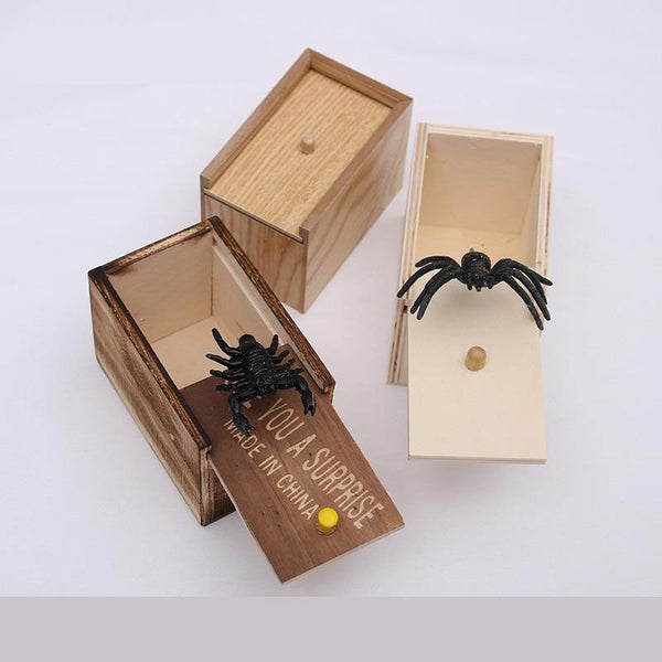 The Jumping Spider Prank Box | Hidden in Wooden Case for Tricks Jokes Gags Pranks - WickyDeez