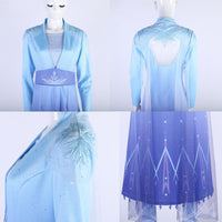New Frozen 2 Elsa Ice Queen Cosplay Costume Dress Outfit Full Adult Set