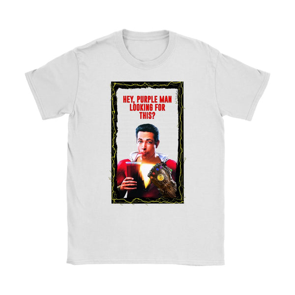 Inspired by Shazam Movie Parody Poking Fun at Thanos Womens Shirt-DC Comics Cosplay-WickyDeez