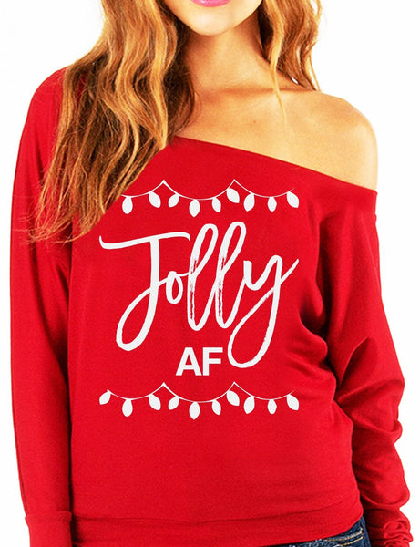 Jolly AF Slouchy Christmas Long Sleeve Off Shoulder Sweatshirt (Available in Red/Black)-Women's Tops-WickyDeez