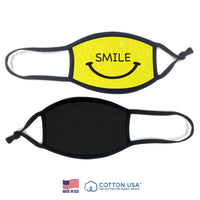 Kids Size Smiley Face Mask | 100% Cotton Neon Yellow (Rewashable)