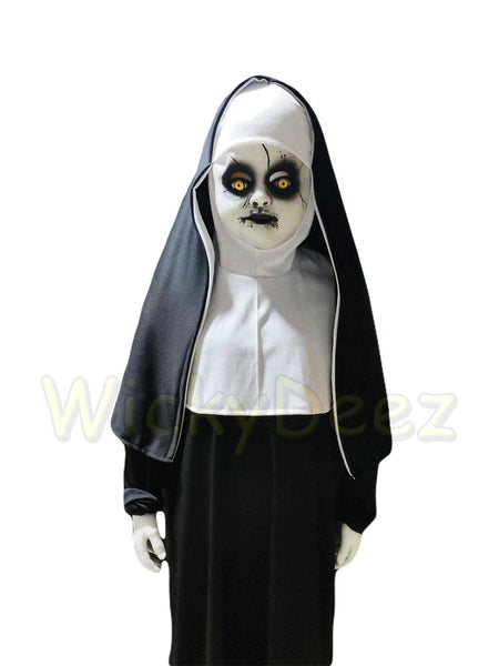 Rare Kids 2018 The Nun Full Costume Conjuring Valak Horror Mask & Veil Cosplay Halloween Outfit-Horror Theme-WickyDeez
