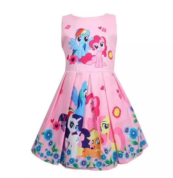 Kids Cute Rainbow Foal My Little Poli Pony Dress Ages from 2yrs - 8yrs - WickyDeez
