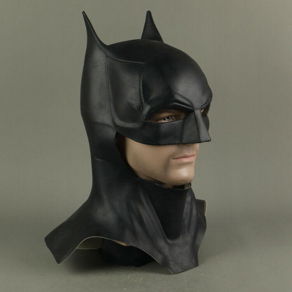 Full-Front-Right-Side-Angle-View-of-The-Batman-2021-Movie-Mask-Robert-Pattinson-Cosplay-Cowl-Costume-Prop-at-WickyDeez