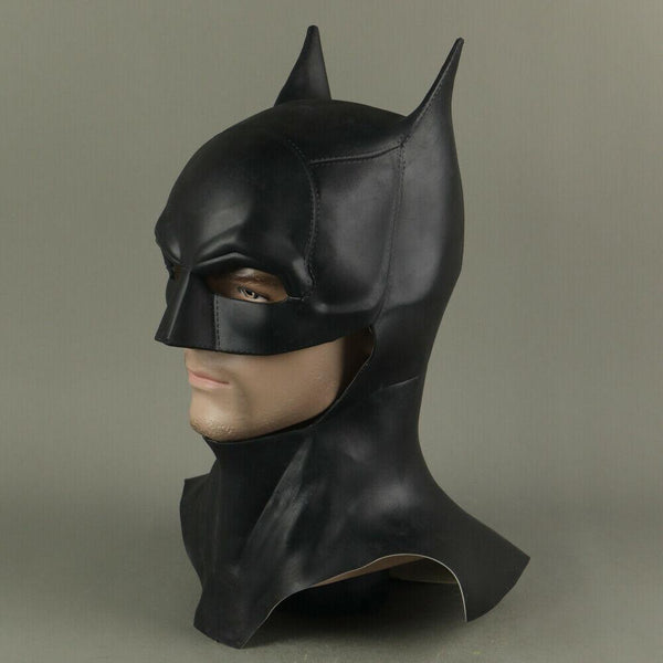 Full-Front-Left-Side-Angle-View-of-The-Batman-2021-Movie-Mask-Robert-Pattinson-Cosplay-Cowl-Costume-Prop-at-WickyDeez