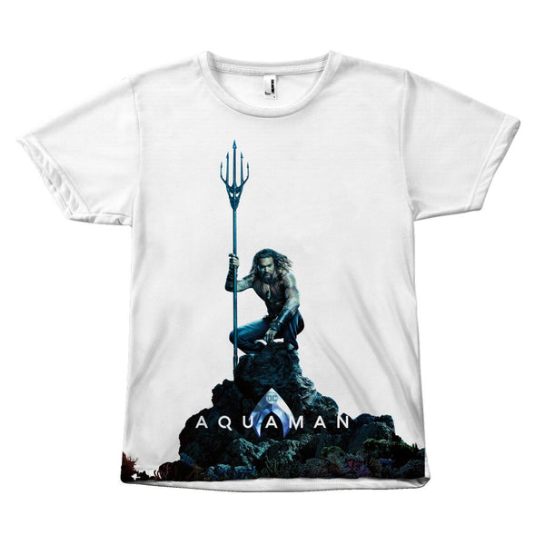 New Aquaman 2018 Movie Jason Momoa Canvas Size - Unisex Tee Shirt-All Over Print-WickyDeez