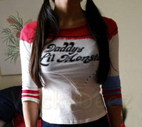 The No Hole or Rips Stiched Harley Quinn Shirt Daddy's Lil Monster Suicide Squad Version-DC Comics Cosplay-WickyDeez